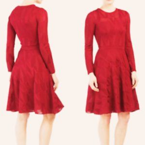 M Missoni Long-Sleeve Fit and Flare Burgundy Dress